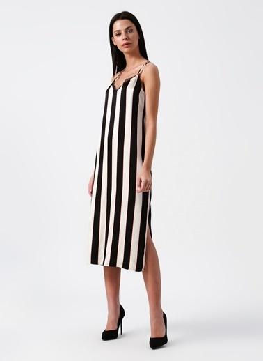 Random İnce Askılı Çizgili Midi Elbise Bej